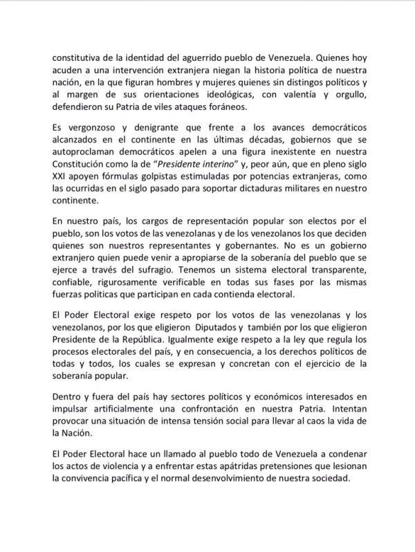 CNE repudia pretensiones de golpe de Estado (+Comunicado)